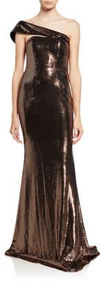 Jovani One-Shoulder Transfer Foil Embellished Mermaid Gown