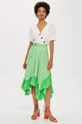 Topshop Spot and Striped Ruffle Midi Skirt