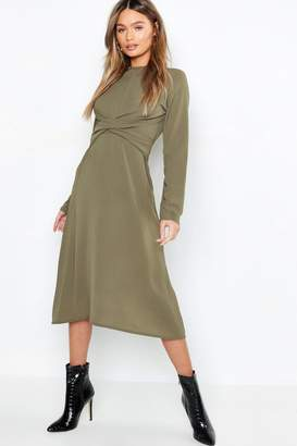 boohoo Wrap Front Woven Midi Dress