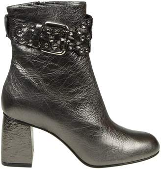 RED Valentino flower Puzzle Boots In Laminated Leather Anthracite Color