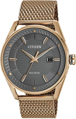 Citizen Drive from Eco-Drive Men Rose Gold-Tone Stainless Steel Mesh Bracelet Watch 42mm BM6983-51H