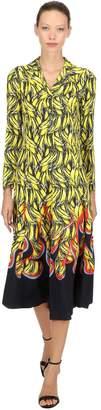 Prada Banana Flames Print Twill Long Dress