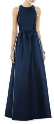Alfred Sung Full Length Sleeveless Sateen Twill Floor-Length Dress