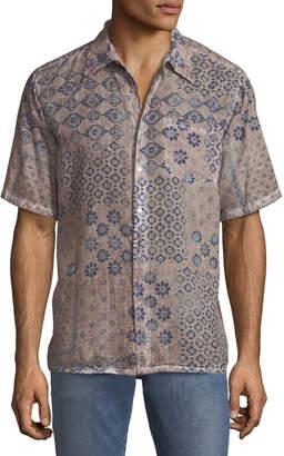 Raga Men's Classic-Fit Mixed-Floral Short-Sleeve Sport Shirt