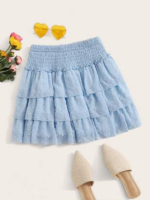 Shein Chiffon Shirred Swiss Dot Layer Ruffle Skirt