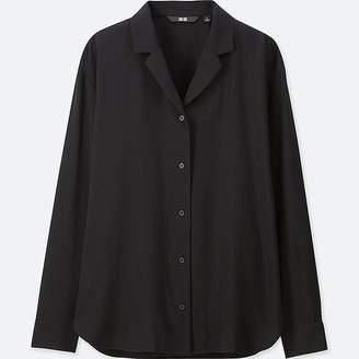 Uniqlo Women's Rayon Open Collar Long-sleeve Blouse