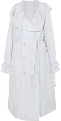 Unravel Project - Oversized Button-detailed Silk Trench Coat - Light blue