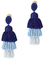 Oscar De La Renta Tiered Tassel Silk Earrings $450 thestylecure.com