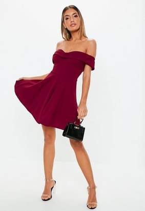 Missguided Wine Bardot Wrap Skater Dress, Wine