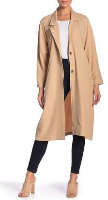 Know One Cares Tie Waist Solid Trench Coat