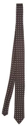 Dolce & Gabbana Polka Dot Jacquard Silk Tie - Mens - Black