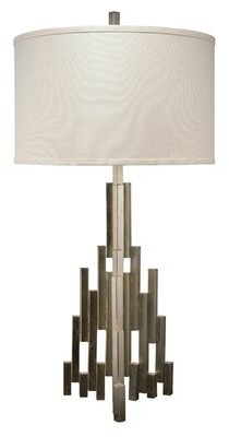 Jamie Young Company Skyscraper Table Lamp in Champagne Leaf on Metal with Drum Shade in Stone Linen Company