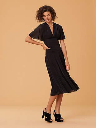 Diane von Furstenberg Flutter Sleeve Cinched Waist Midi Dress