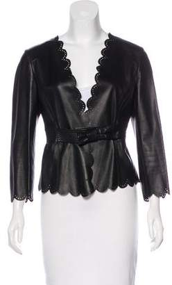 Valentino Leather Laser Cut Jacket