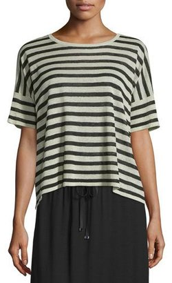 Eileen Fisher Short-Sleeve Striped Linen-Blend Top, Natural/Black $198 thestylecure.com