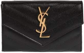 Saint Laurent Small Monogram Grained Leather Wallet