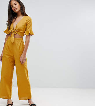 301c23692da Asos Tall DESIGN Tall tea jumpsuit with cut out and tie detail in linen