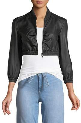 Emporio Armani Zip-Front Cropped Ruched-Waist Leather Jacket