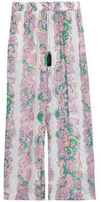 Just Cavalli Printed Crepe Wide-Leg Pants