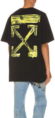 Off-White Off White Acrylic Arrows Tee in Black & Yellow | FWRD