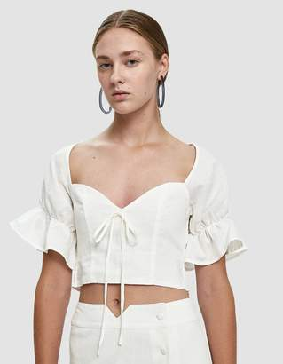 Farrow Raylee Cropped Linen Blouse