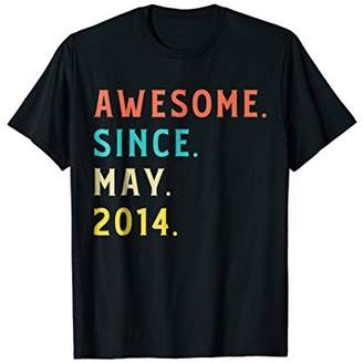 Vintage Awesome Since May 2014 Shirt Funny 4th Birthday Gift