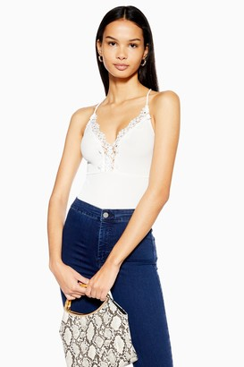 Topshop Ribbed Lace Strappy Bodysuit