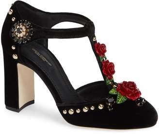 Dolce & Gabbana Embellished T-Strap Rose Pump