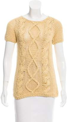 Brunello Cucinelli Rib Knit Short Sleeve Sweater