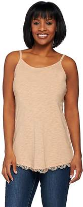 Logo By Lori Goldstein LOGO Layers by Lori Goldstein Cotton Slub Knit Thin Strap Tank w/ Lace