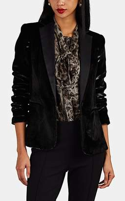 Frame Women's Satin-Trimmed Velvet One-Button Blazer - Black