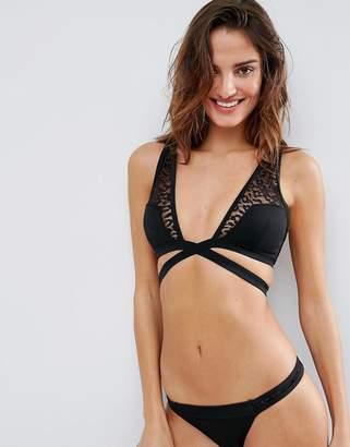Asos DESIGN Scuba Leopard Mesh Insert High Triangle Bikini Top