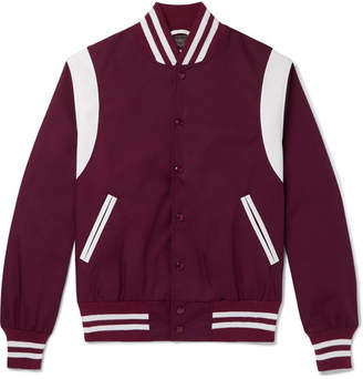 GoldenBear Golden Bear - Leather-Panelled Poplin Bomber Jacket - Men - Burgundy