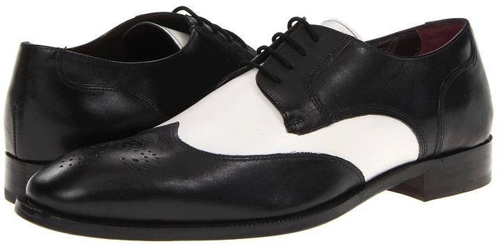 Johnston & Murphy Carlock Two-Tone Wing Tip (Black/White Italian Calfskin) - Footwear
