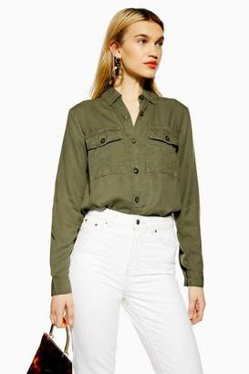 Topshop Womens Tall Double Pocket Utility Shirt