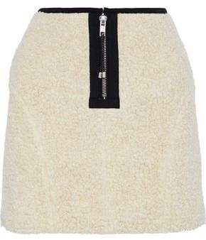 Sandy Liang Zaddy Faux Shearling And Quilted Shell Mini Skirt