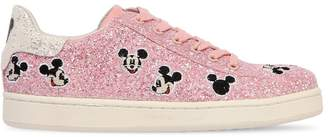 Moa Master Of Arts Mickey Mouse Glittered Leather Sneakers