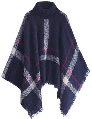 Goodnight Macaroon 'Hayley' Plaid Turtleneck Cape Sweater (5 colors)