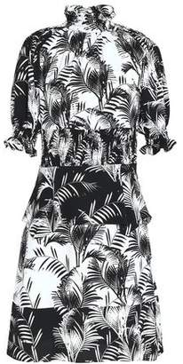 Sonia Rykiel Shirred Printed Crepe De Chine Dress