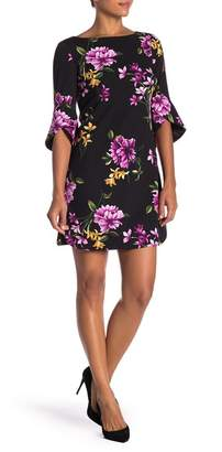 Vince Camuto 3\u002F4 Sleeve Floral Print Dress