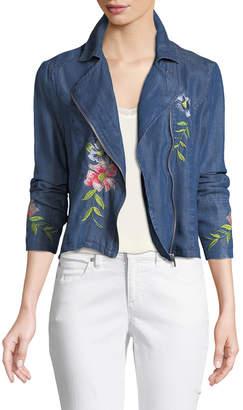 Neiman Marcus Embroidered Chambray Moto Jacket