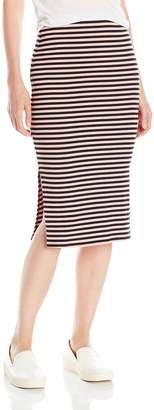 My Michelle Juniors Striped Rib Knit Long Pencil Skirt with Side Slits