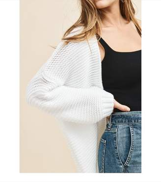 Dynamite Open Front Stitched Cardigan BRIGHT WHITE