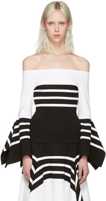 Rosetta Getty Black & White Scarf Hem Off-the-Shoulder Blouse $820 thestylecure.com