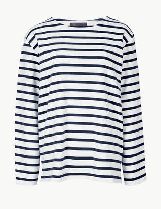 Marks and Spencer Cotton Rich Striped Long Sleeve Sweatshirt