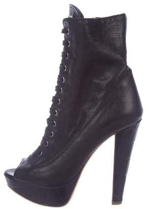 Miu Miu Leather Lace-Up Boots Black Leather Lace-Up Boots
