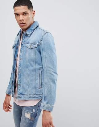 HUGO Zip Denim Jacket In Blue