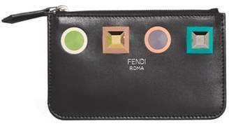 Fendi Large Studded Leather Key Pouch