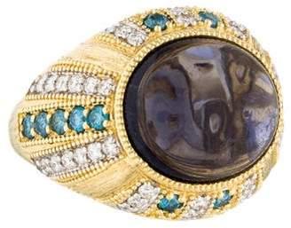 Jude Frances 18K Diamond & Iolite Cocktail Ring