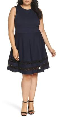 Eliza J Lace Trim Fit & Flare Dress